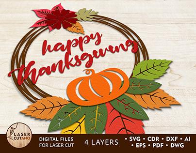 WREATH Thanksgiving Multilayer Laser Cut Files