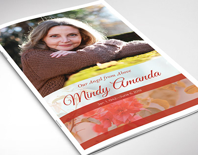 Cherry Funeral Program Word Publisher Template