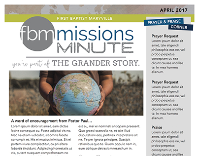 Newsletter Layout & Design | fbmmissions minute