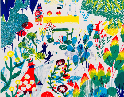 Anonymous kitchen in a forest / silk screen print
