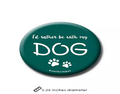 I'd Rather Be With My Dog Fridge Magnet