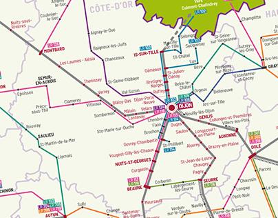 Cartographie du réseau régional MOBIGO