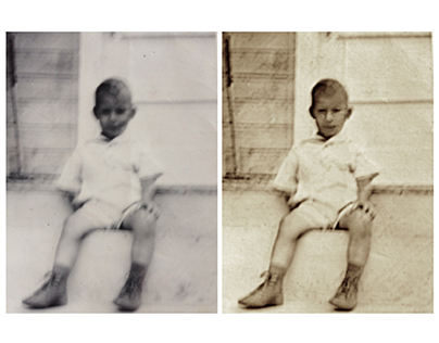 Restoration of a blurry photograph of a child (c 1940)