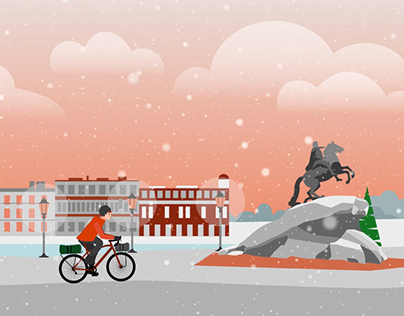 Vector cartoon about winter cycling