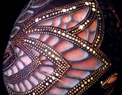 Handmade Lamps made of African Pumpkin