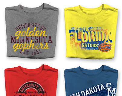 Resort + Collegiate t-shirt designs