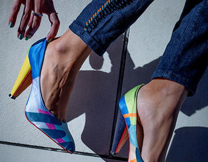 Digitally Printed Fabric High Heels