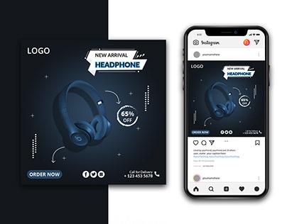 Blue Headphone Social Media Instagram Banner