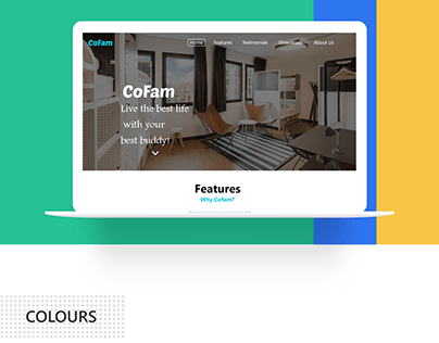 Marketing page for CoFam app
