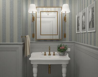 English style in interior design. Bathroom