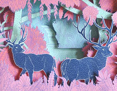 Pink Jungle Deer Shadow Box