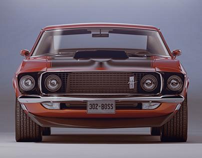 1969 Ford Mustang BOSS 302 3D Model