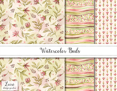 Watercolor Buds Pattern Design