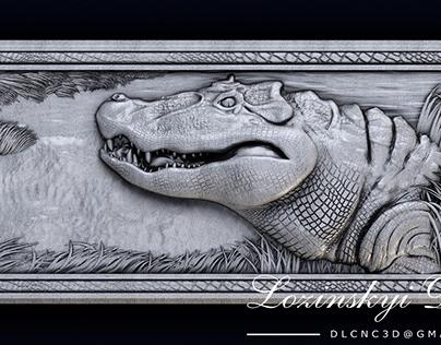Gator. Bas-relief.