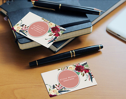 Floral business card free psd