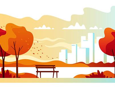 Autumn City Park Illustration free Download