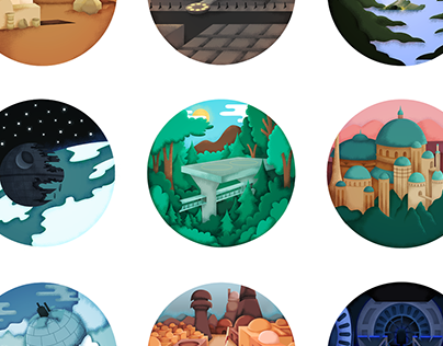 STAR WARS - Illustrated sceneries