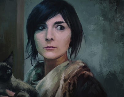 Girl with Cat (Selfportrait)