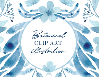 Botanical watercolor Illustration, Digital Clip art
