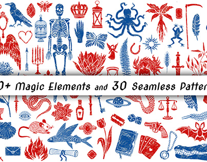 70 Magic Elements and 30 Mystical Seamless Patterns