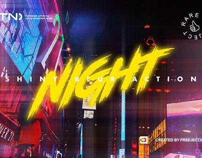 Night Shiny Blur Photoshop Action - Cyberpunk Style