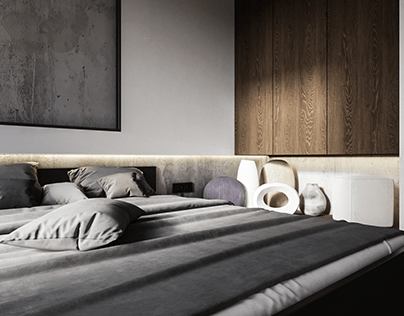 Concrete lover bedroom interior CGI