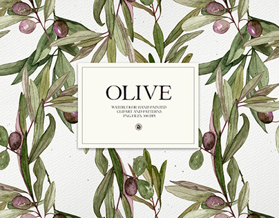 Olive - watercolor hand painted floral set and patterns