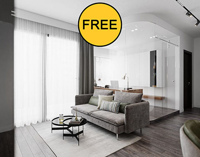 FREE SCENE 3D Interior Kitchen- Livingroom 63