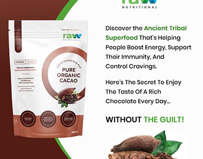 Raw Nutritional Pure Organic Cacao Powder