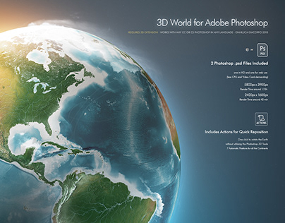 3D Photoshop World and Actions- HD Earth Globe