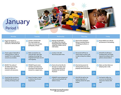 Calendar for Kindercare Classrooms