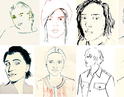 Portraits - Blotted line Monotype