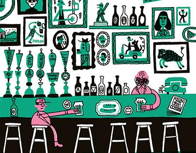 Mr.Champagne's legendary long bar.
