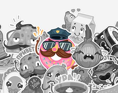 Tasty team. VK stickers set.