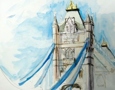 Ink and watercolour sketches of London