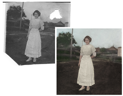 Restoration & colorisation of a photograph with a hole