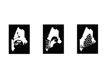 Three Symbols in a Series Maine: fruit, bird, flower