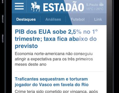 Estadão - site mobile, 2014
