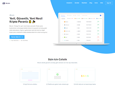 Bicoin Cryptocurrency Landing Page Design