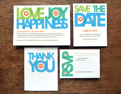 Love Joy Happiness Wedding Stationery