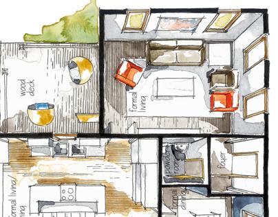 Real Estate Watercolor 3D Floor Plan I