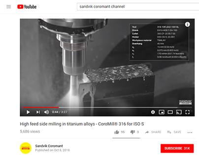 Sandvik Coromant - technical web copy and demo video