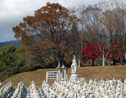Many stone statues