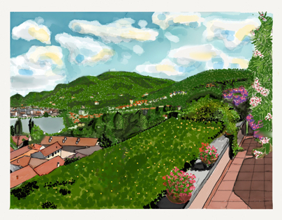 Lake Como Panorama from a roof garden