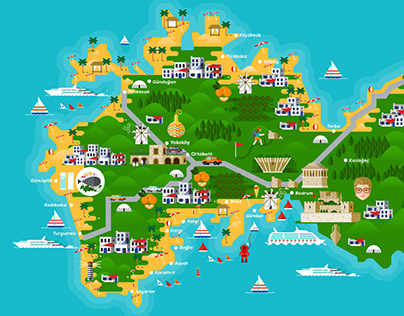 Bodrum Map Illustration