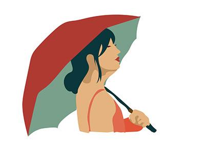 Illustration: Girl With Umbrella