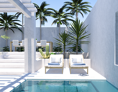 Contemporary backyard with a tropical vibe