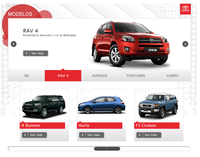Toyota - Facebook App - Modelos