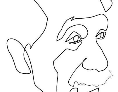 """Einstein's oneline portrait for the """"New Scientist"""""""
