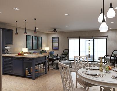 Ocean condo livingroom
